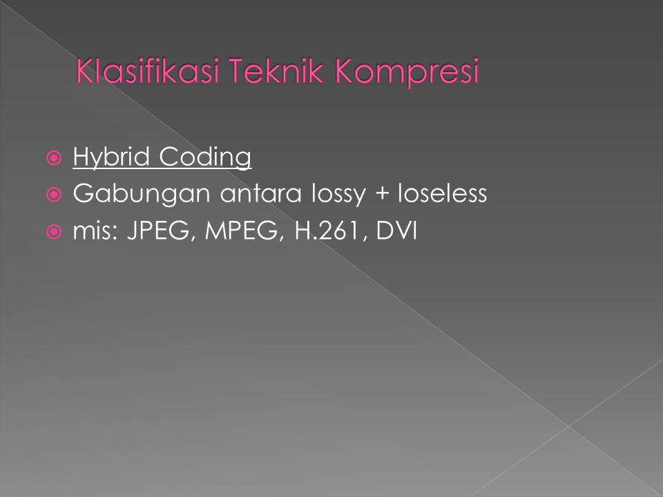  Hybrid Coding  Gabungan antara lossy + loseless  mis: JPEG, MPEG, H.261, DVI