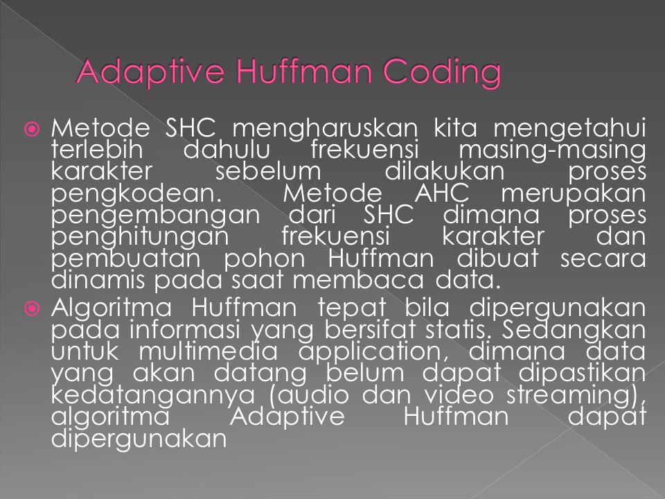  Metode SHC mengharuskan kita mengetahui terlebih dahulu frekuensi masing-masing karakter sebelum dilakukan proses pengkodean. Metode AHC merupakan p