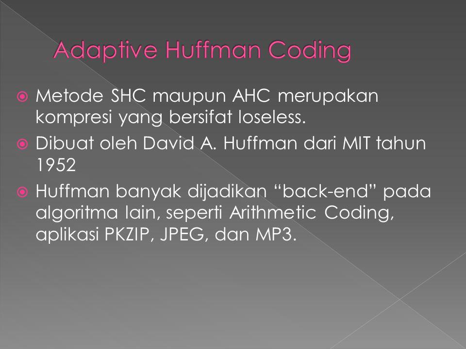 """ Metode SHC maupun AHC merupakan kompresi yang bersifat loseless.  Dibuat oleh David A. Huffman dari MIT tahun 1952  Huffman banyak dijadikan """"back"""