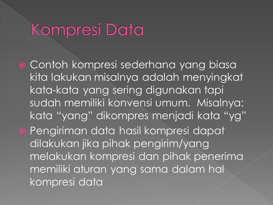  Pihak pengirim harus menggunakan algoritma kompresi data yang sudah baku dan pihak penerima juga menggunakan teknik dekompresi data yang sama dengan pengirim sehingga data yang diterima dapat dibaca / di-dekode kembali dengan benar  Kompresi data menjadi sangat penting karena memperkecil kebutuhan penyimpanan data, mempercepat pengiriman data, memperkecil kebutuhan bandwidth