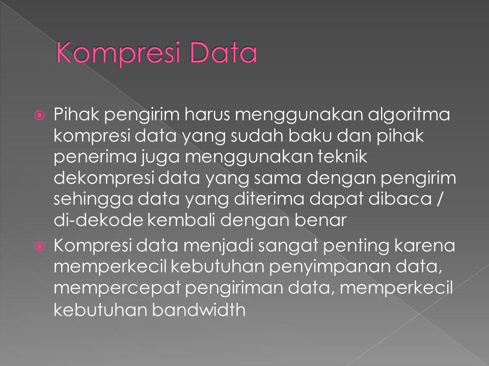  Teknik kompresi bisa dilakukan terhadap data teks/biner, gambar (JPEG, PNG, TIFF), audio (MP3, AAC, RMA, WMA), dan video (MPEG, H261, H263)
