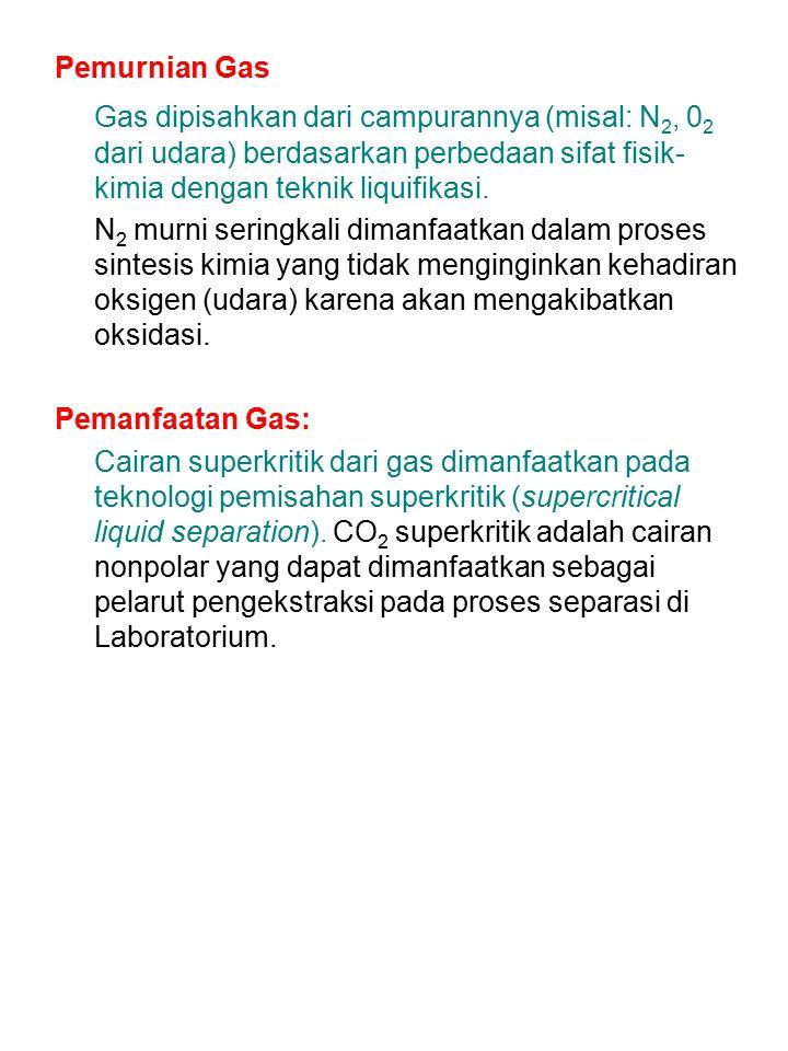 Pemurnian Gas Gas dipisahkan dari campurannya (misal: N 2, 0 2 dari udara) berdasarkan perbedaan sifat fisik- kimia dengan teknik liquifikasi. N 2 mur