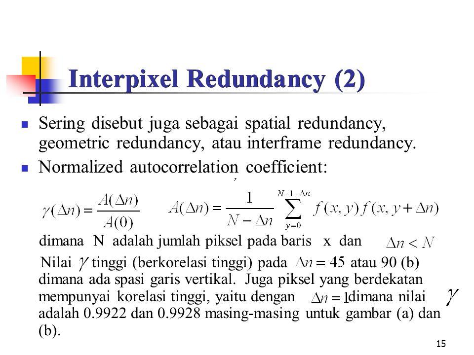 15 Interpixel Redundancy (2) Sering disebut juga sebagai spatial redundancy, geometric redundancy, atau interframe redundancy.