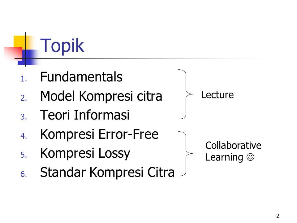 2 Topik 1.Fundamentals 2. Model Kompresi citra 3.