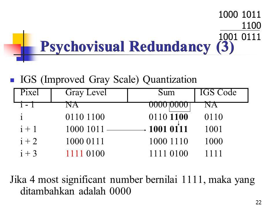 22 Psychovisual Redundancy (3) IGS (Improved Gray Scale) Quantization PixelGray Level Sum IGS Code i - 1NA0000 0000NA i0110 11000110 11000110 i + 11000 10111001 01111001 i + 21000 01111000 11101000 i + 31111 01001111 01001111 Jika 4 most significant number bernilai 1111, maka yang ditambahkan adalah 0000 1000 1011 1100 1001 0111