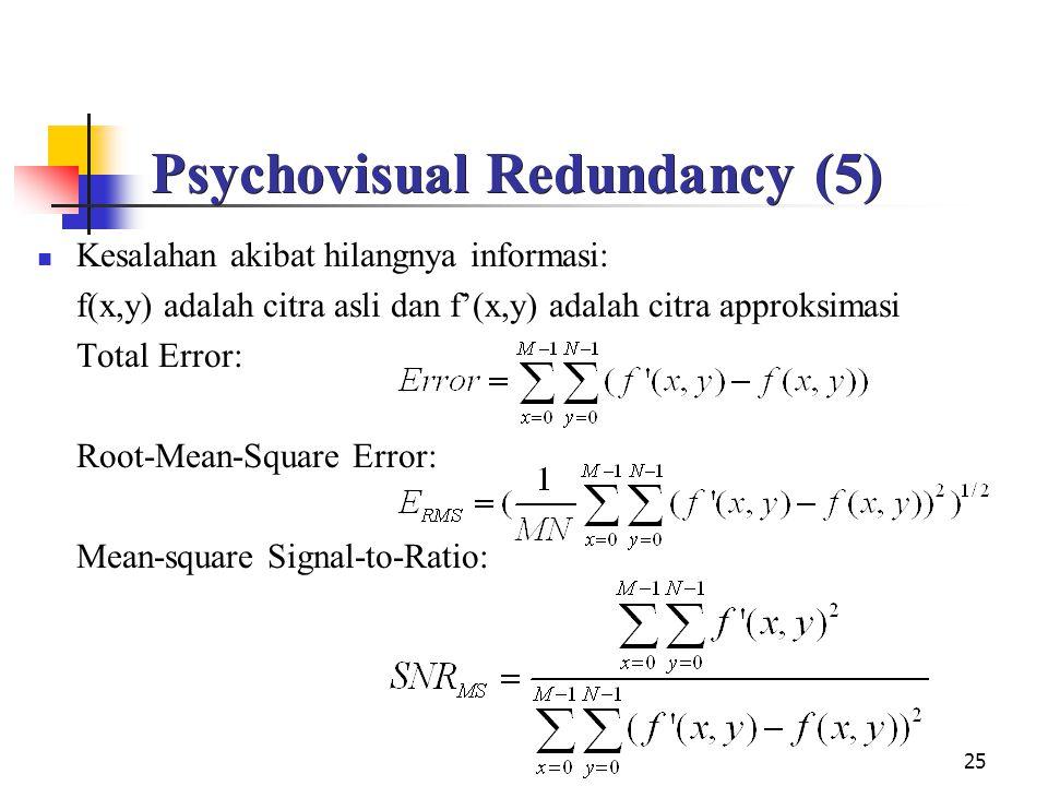 25 Psychovisual Redundancy (5) Kesalahan akibat hilangnya informasi: f(x,y) adalah citra asli dan f'(x,y) adalah citra approksimasi Total Error: Root-Mean-Square Error: Mean-square Signal-to-Ratio: