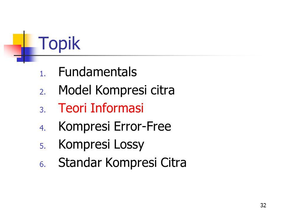 32 Topik 1.Fundamentals 2. Model Kompresi citra 3.