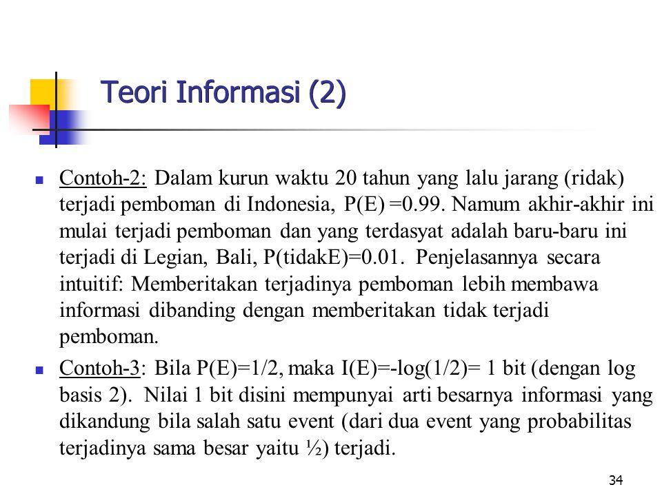 34 Teori Informasi (2) Contoh-2: Dalam kurun waktu 20 tahun yang lalu jarang (ridak) terjadi pemboman di Indonesia, P(E) =0.99.