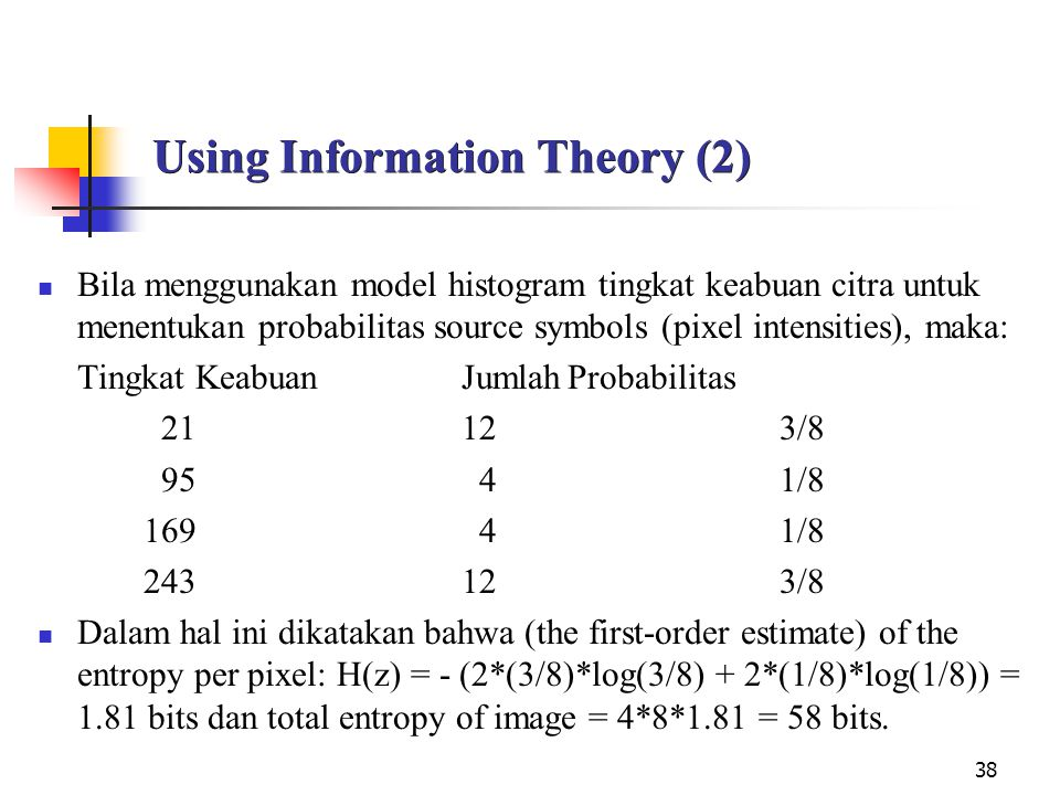 38 Using Information Theory (2) Bila menggunakan model histogram tingkat keabuan citra untuk menentukan probabilitas source symbols (pixel intensities), maka: Tingkat KeabuanJumlahProbabilitas 21123/8 95 41/8 169 41/8 243123/8 Dalam hal ini dikatakan bahwa (the first-order estimate) of the entropy per pixel: H(z) = - (2*(3/8)*log(3/8) + 2*(1/8)*log(1/8)) = 1.81 bits dan total entropy of image = 4*8*1.81 = 58 bits.