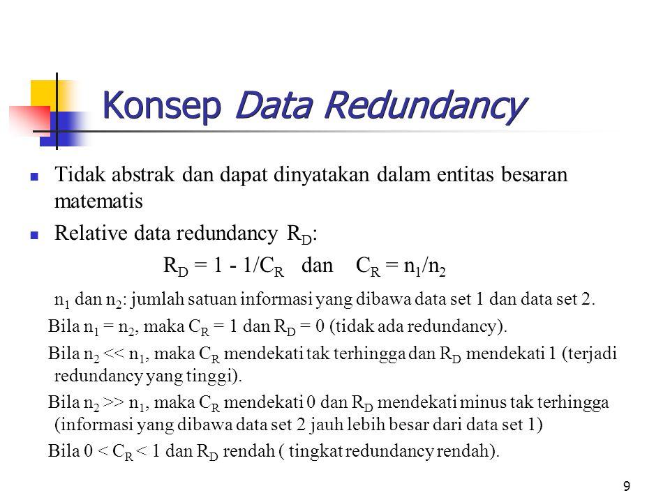 9 Konsep Data Redundancy Tidak abstrak dan dapat dinyatakan dalam entitas besaran matematis Relative data redundancy R D : R D = 1 - 1/C R dan C R = n 1 /n 2 n 1 dan n 2 : jumlah satuan informasi yang dibawa data set 1 dan data set 2.