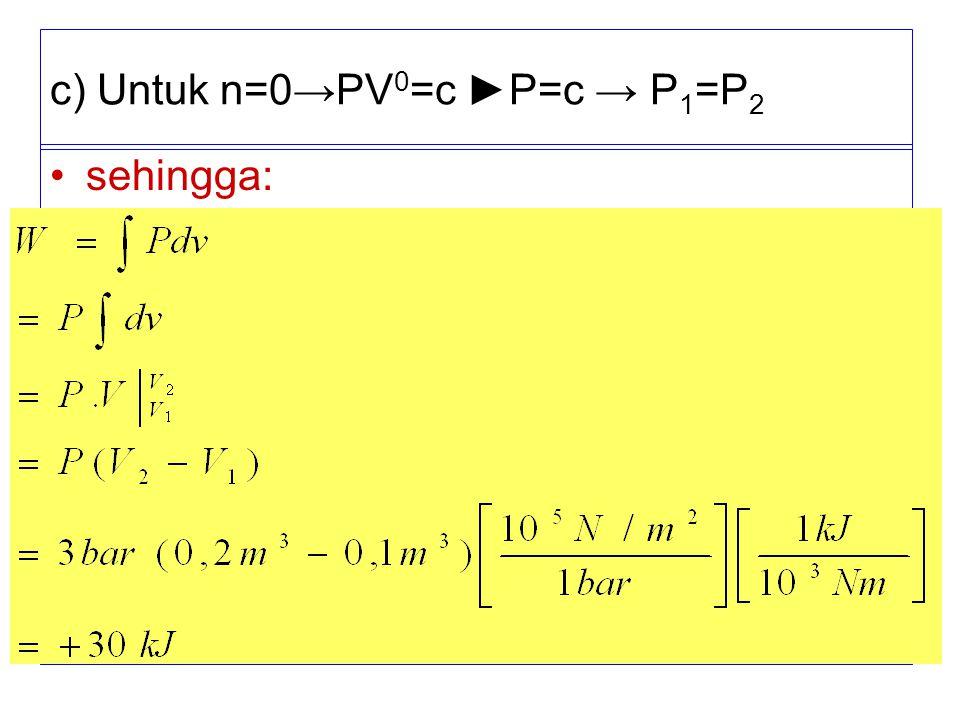 c) Untuk n=0→PV 0 =c ►P=c → P 1 =P 2 sehingga: