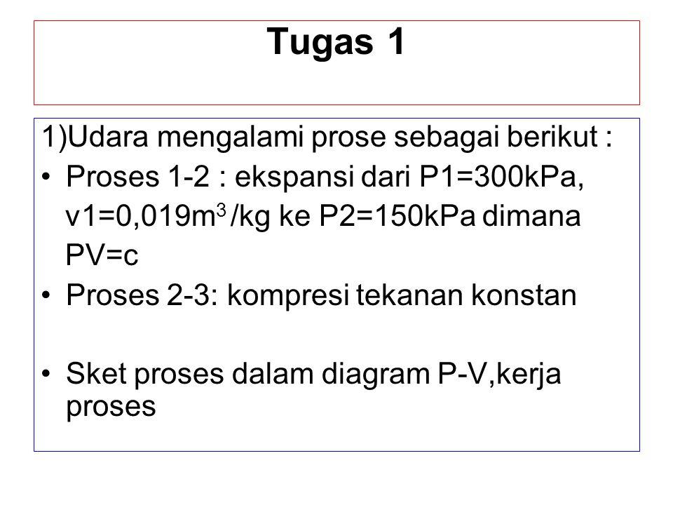 Tugas 1 1)Udara mengalami prose sebagai berikut : Proses 1-2 : ekspansi dari P1=300kPa, v1=0,019m 3 /kg ke P2=150kPa dimana PV=c Proses 2-3: kompresi