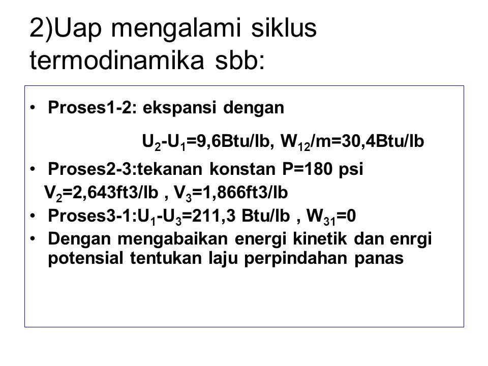 2)Uap mengalami siklus termodinamika sbb: Proses1-2: ekspansi dengan U 2 -U 1 =9,6Btu/lb, W 12 /m=30,4Btu/lb Proses2-3:tekanan konstan P=180 psi V 2 =