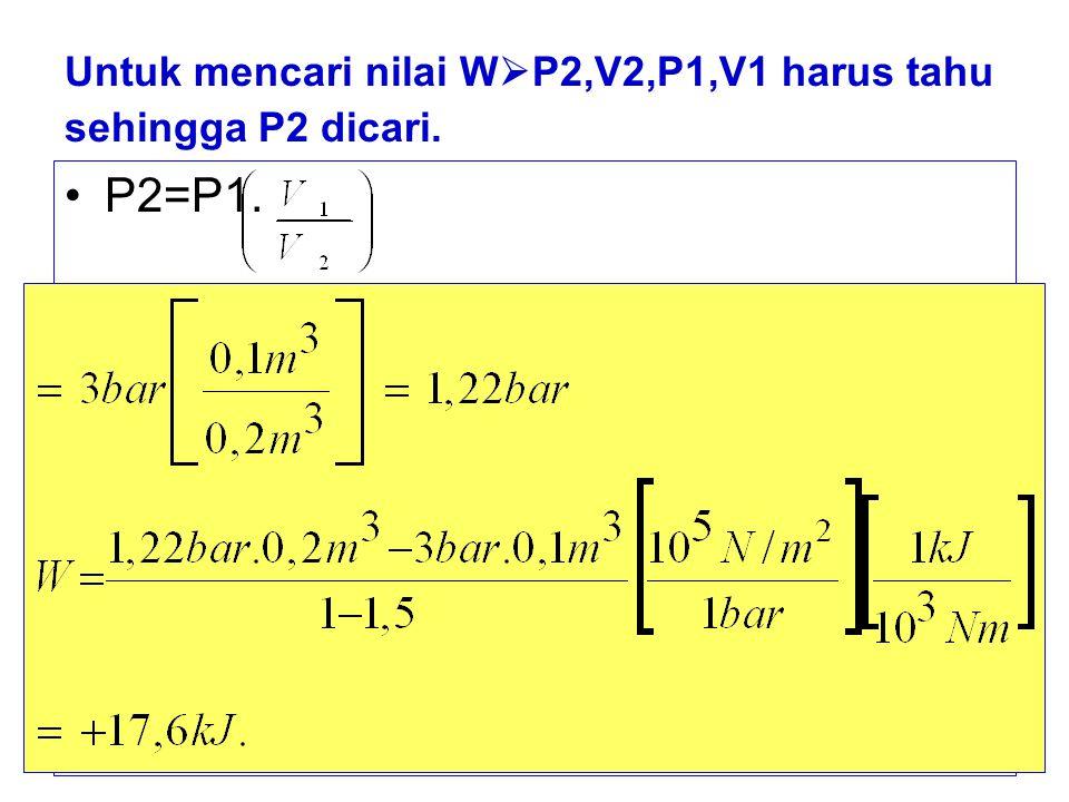 b) untuk=0,1 → PV 1 =c → P=c÷V →P 1 V 1 =P 2 V 2 Sehingga: