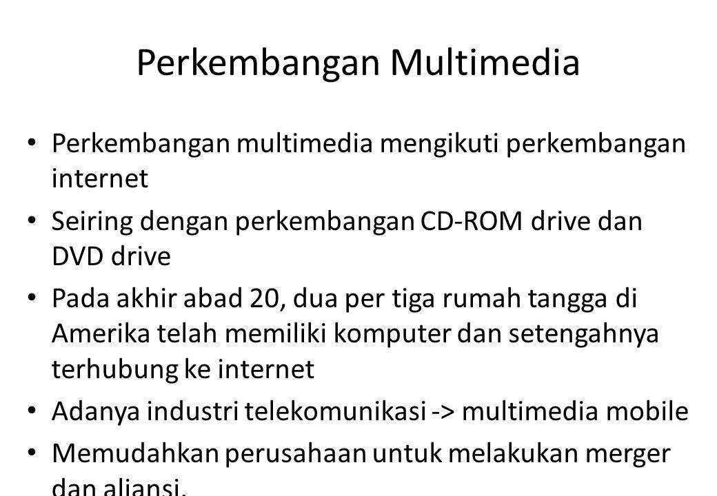 Perkembangan Multimedia Perkembangan multimedia mengikuti perkembangan internet Seiring dengan perkembangan CD-ROM drive dan DVD drive Pada akhir abad