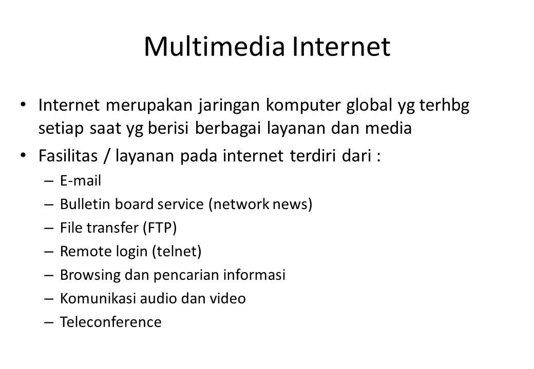 Multimedia Internet Internet merupakan jaringan komputer global yg terhbg setiap saat yg berisi berbagai layanan dan media Fasilitas / layanan pada in