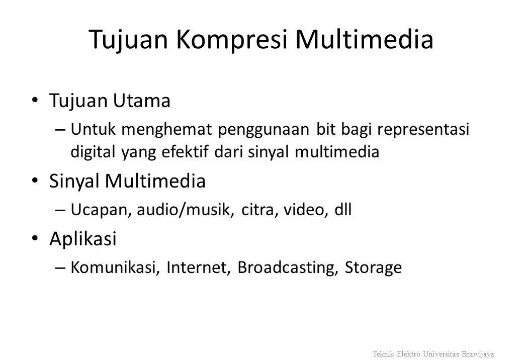 Tujuan Kompresi Multimedia Tujuan Utama – Untuk menghemat penggunaan bit bagi representasi digital yang efektif dari sinyal multimedia Sinyal Multimed