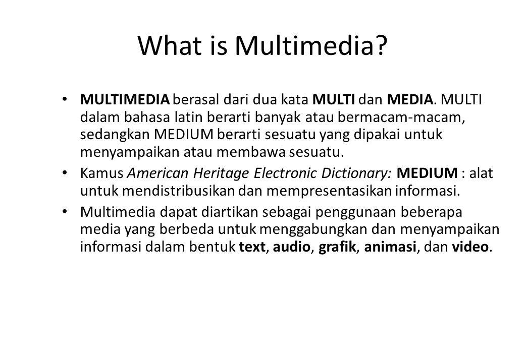 What is Multimedia? MULTIMEDIA berasal dari dua kata MULTI dan MEDIA. MULTI dalam bahasa latin berarti banyak atau bermacam-macam, sedangkan MEDIUM be