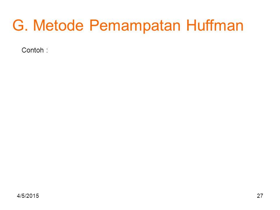 G. Metode Pemampatan Huffman Contoh : 4/5/201527