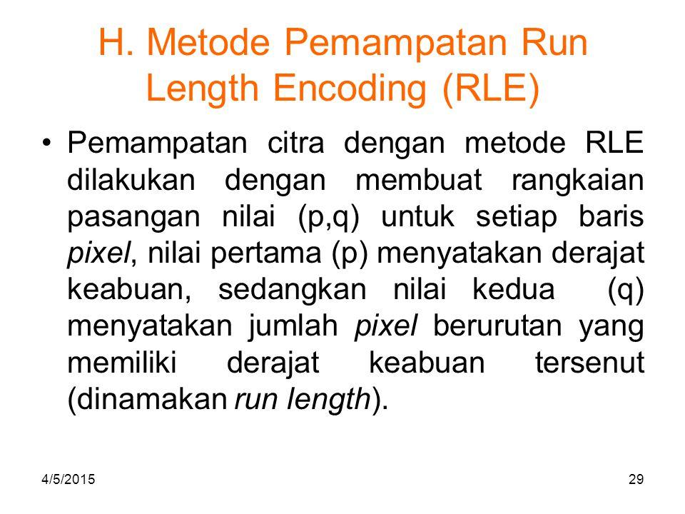 H. Metode Pemampatan Run Length Encoding (RLE) Pemampatan citra dengan metode RLE dilakukan dengan membuat rangkaian pasangan nilai (p,q) untuk setiap