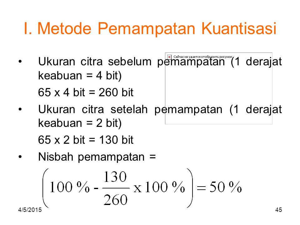 I. Metode Pemampatan Kuantisasi Ukuran citra sebelum pemampatan (1 derajat keabuan = 4 bit) 65 x 4 bit = 260 bit Ukuran citra setelah pemampatan (1 de