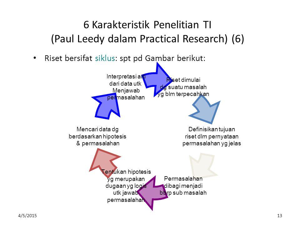 4/5/201513 6 Karakteristik Penelitian TI (Paul Leedy dalam Practical Research) (6) Riset bersifat siklus: spt pd Gambar berikut: Riset dimulai dg suat