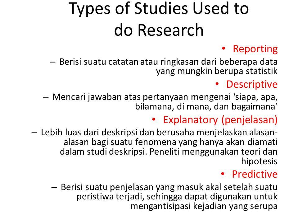 Types of Studies Used to do Research Reporting – Berisi suatu catatan atau ringkasan dari beberapa data yang mungkin berupa statistik Descriptive – Me