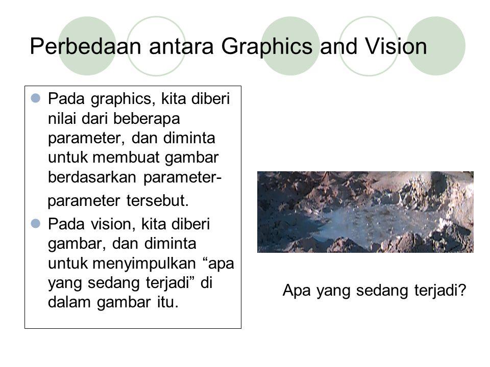 Perbedaan antara Graphics and Vision Pada graphics, kita diberi nilai dari beberapa parameter, dan diminta untuk membuat gambar berdasarkan parameter-