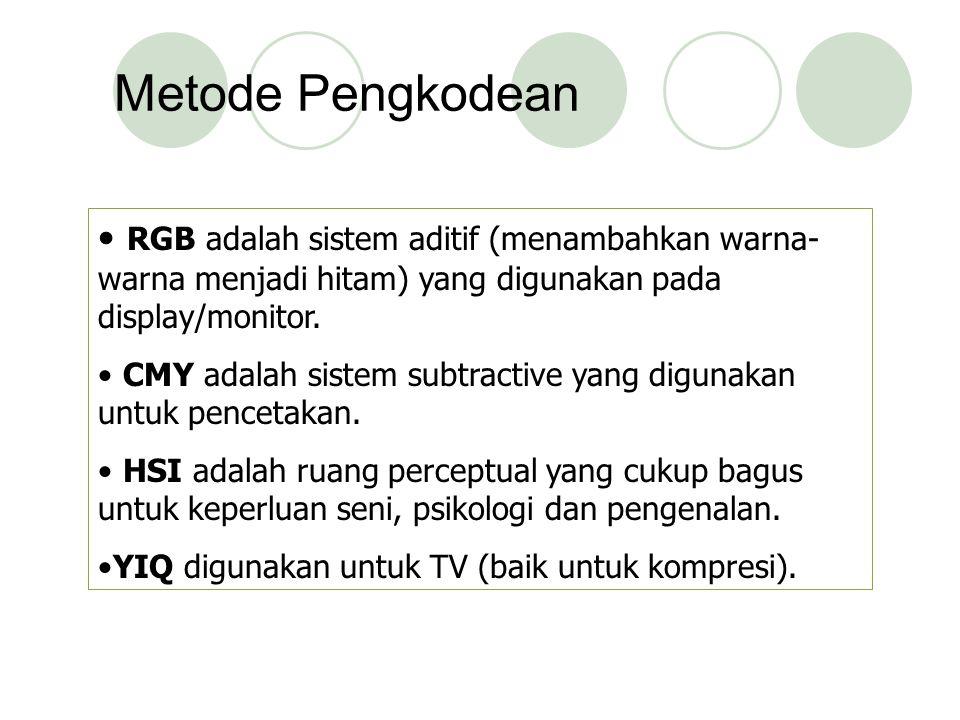 Metode Pengkodean RGB adalah sistem aditif (menambahkan warna- warna menjadi hitam) yang digunakan pada display/monitor. CMY adalah sistem subtractive