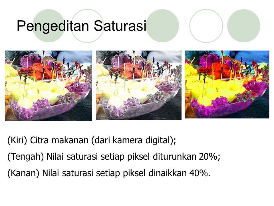 Pengeditan Saturasi (Kiri) Citra makanan (dari kamera digital); (Tengah) Nilai saturasi setiap piksel diturunkan 20%; (Kanan) Nilai saturasi setiap pi