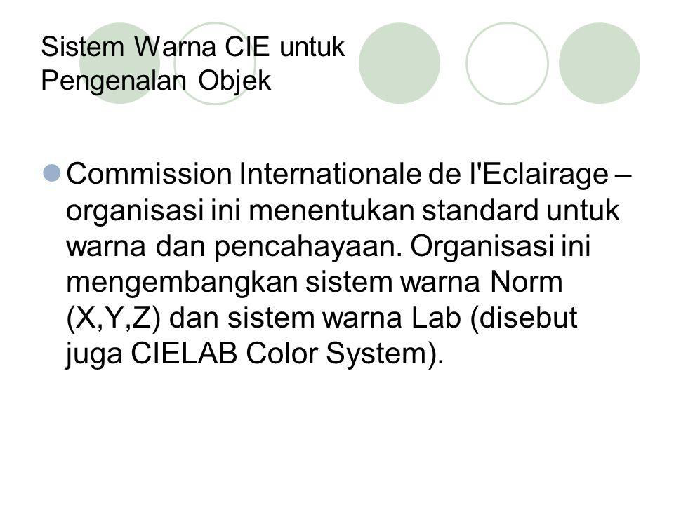 Sistem Warna CIE untuk Pengenalan Objek Commission Internationale de l'Eclairage – organisasi ini menentukan standard untuk warna dan pencahayaan. Org