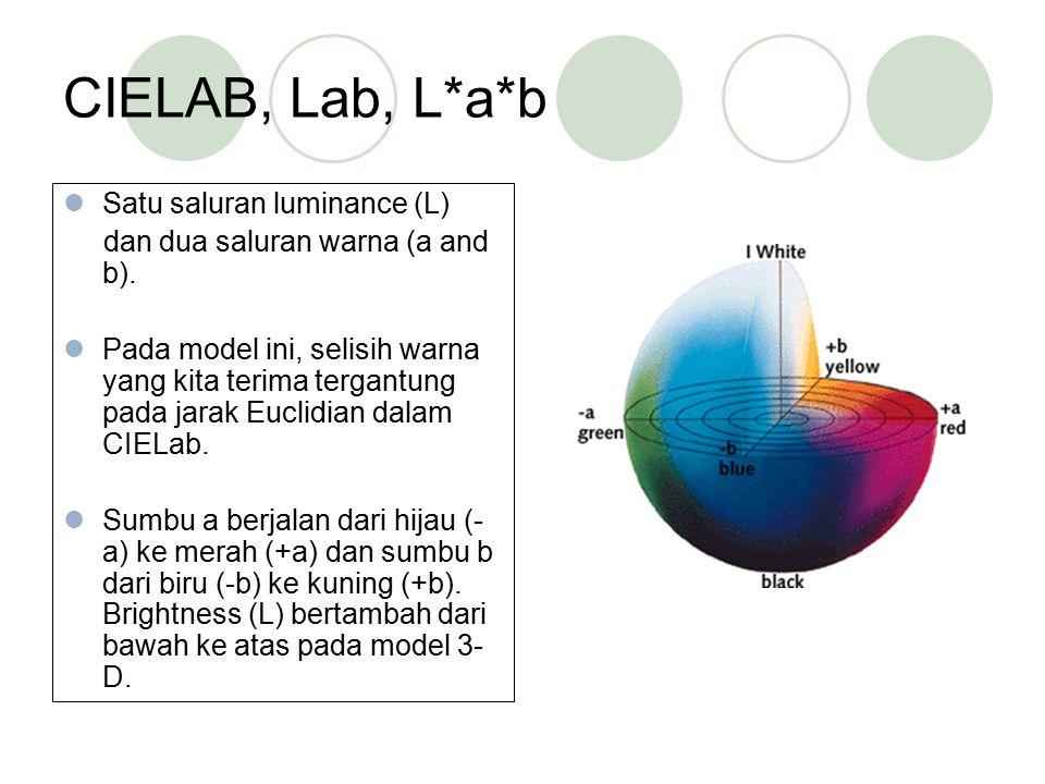 CIELAB, Lab, L*a*b Satu saluran luminance (L) dan dua saluran warna (a and b). Pada model ini, selisih warna yang kita terima tergantung pada jarak Eu