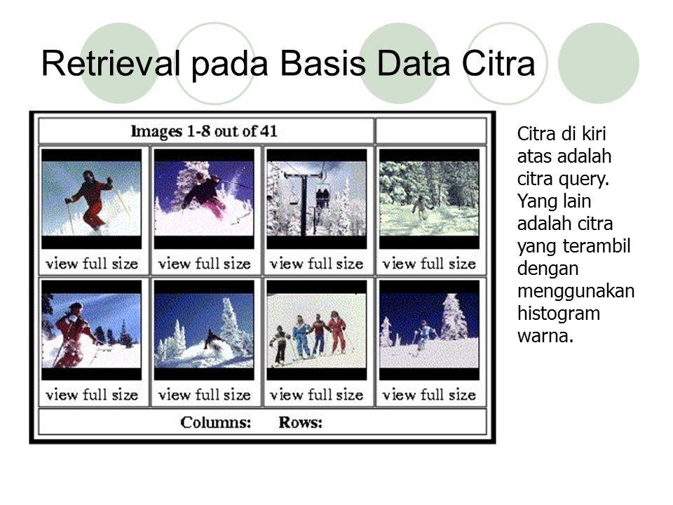 Retrieval pada Basis Data Citra Citra di kiri atas adalah citra query. Yang lain adalah citra yang terambil dengan menggunakan histogram warna.