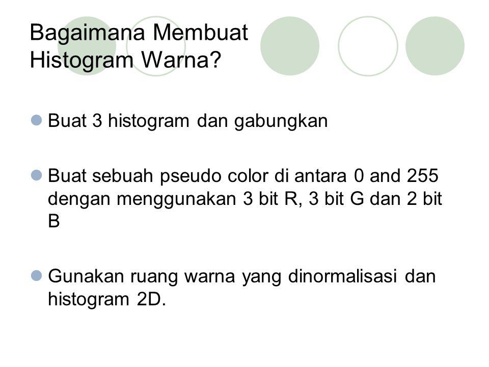 Bagaimana Membuat Histogram Warna? Buat 3 histogram dan gabungkan Buat sebuah pseudo color di antara 0 and 255 dengan menggunakan 3 bit R, 3 bit G dan