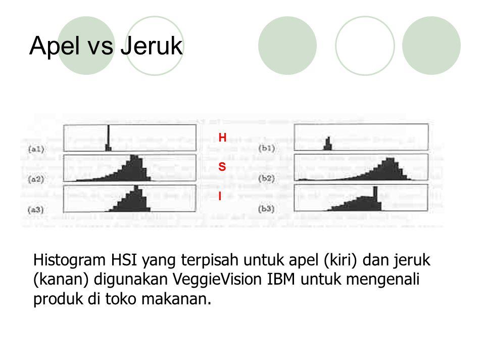 Apel vs Jeruk Histogram HSI yang terpisah untuk apel (kiri) dan jeruk (kanan) digunakan VeggieVision IBM untuk mengenali produk di toko makanan. HSIHS