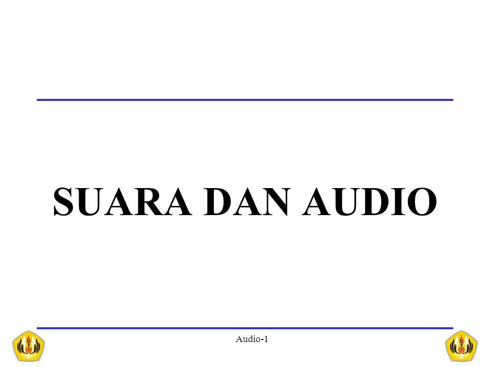 Audio-2 SUARA (SOUND) fenomena fisik yang dihasilkan oleh getaran benda getaran suatu benda yang berupa sinyal analog dengan amplitudo yang berubah secara kontinyu terhadap waktu Suara Suara merambat lewat udara dan tidak bisa merambat melalui ruang hampa