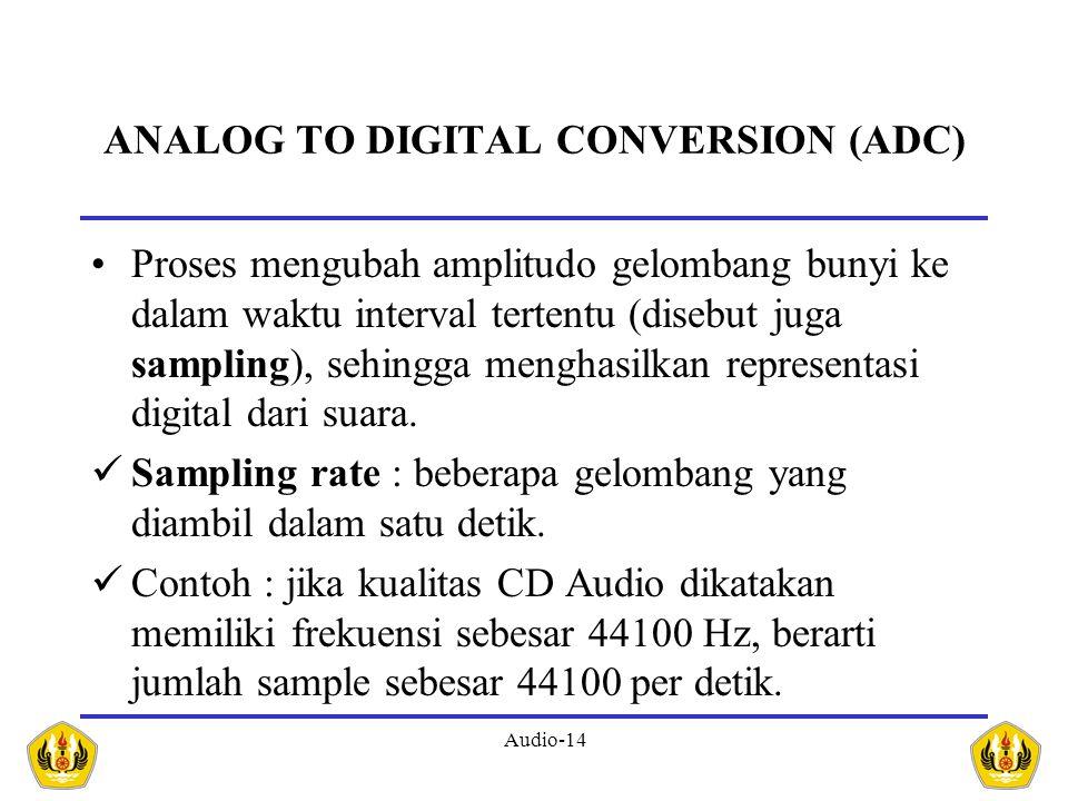 Audio-14 ANALOG TO DIGITAL CONVERSION (ADC) Proses mengubah amplitudo gelombang bunyi ke dalam waktu interval tertentu (disebut juga sampling), sehing