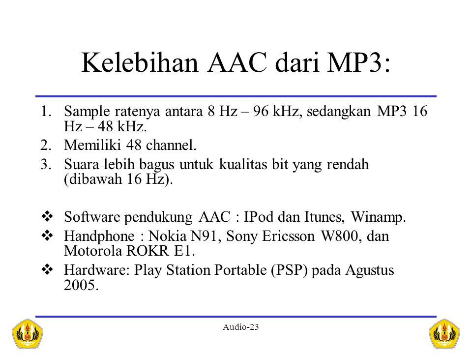 Audio-23 Kelebihan AAC dari MP3: 1.Sample ratenya antara 8 Hz – 96 kHz, sedangkan MP3 16 Hz – 48 kHz. 2.Memiliki 48 channel. 3.Suara lebih bagus untuk