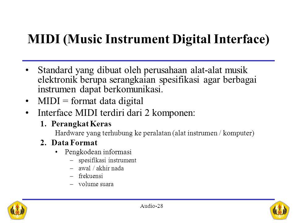 Audio-28 MIDI (Music Instrument Digital Interface) Standard yang dibuat oleh perusahaan alat-alat musik elektronik berupa serangkaian spesifikasi agar