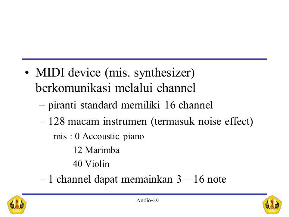 Audio-29 MIDI device (mis. synthesizer) berkomunikasi melalui channel –piranti standard memiliki 16 channel –128 macam instrumen (termasuk noise effec