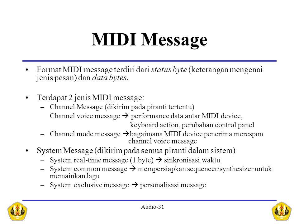 Audio-31 MIDI Message Format MIDI message terdiri dari status byte (keterangan mengenai jenis pesan) dan data bytes. Terdapat 2 jenis MIDI message: –C