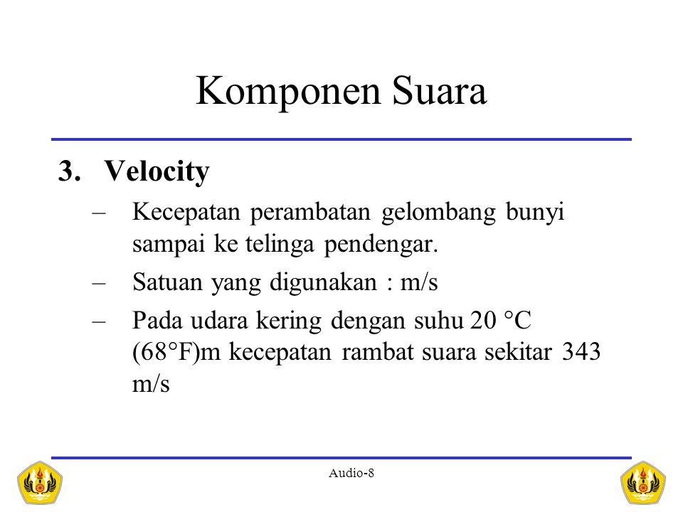 Audio-8 Komponen Suara 3.Velocity –Kecepatan perambatan gelombang bunyi sampai ke telinga pendengar. –Satuan yang digunakan : m/s –Pada udara kering d