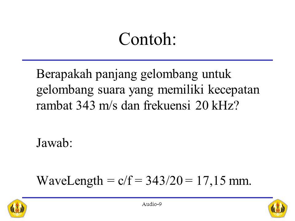 Audio-9 Contoh: Berapakah panjang gelombang untuk gelombang suara yang memiliki kecepatan rambat 343 m/s dan frekuensi 20 kHz? Jawab: WaveLength = c/f