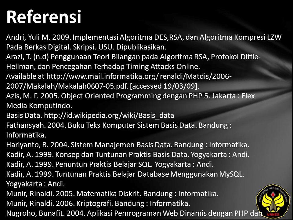 Referensi Andri, Yuli M. 2009.