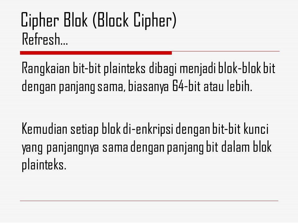 Rangkaian bit-bit plainteks dibagi menjadi blok-blok bit dengan panjang sama, biasanya 64-bit atau lebih. Kemudian setiap blok di-enkripsi dengan bit-