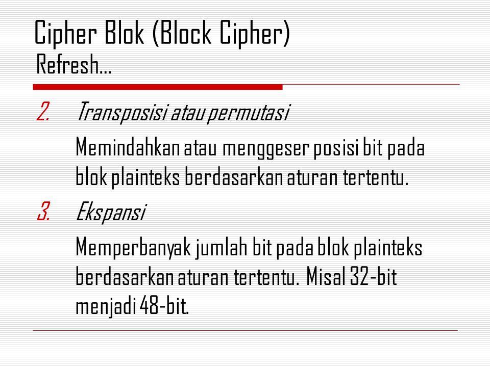 2.Transposisi atau permutasi Memindahkan atau menggeser posisi bit pada blok plainteks berdasarkan aturan tertentu. 3.Ekspansi Memperbanyak jumlah bit