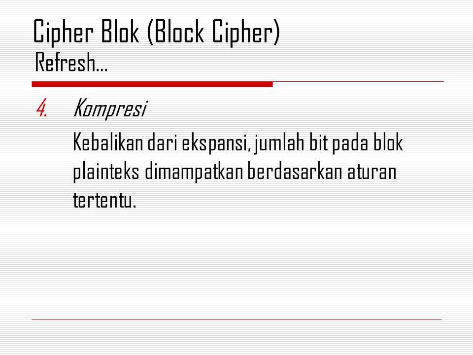 4.Kompresi Kebalikan dari ekspansi, jumlah bit pada blok plainteks dimampatkan berdasarkan aturan tertentu. Refresh… Cipher Blok (Block Cipher)