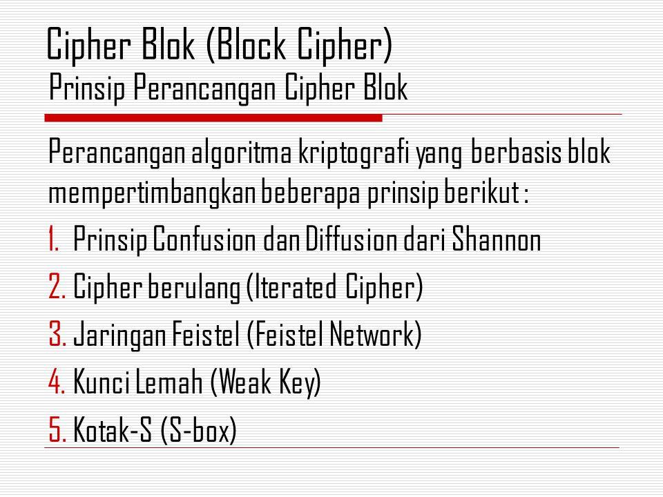 Perancangan algoritma kriptografi yang berbasis blok mempertimbangkan beberapa prinsip berikut : 1.Prinsip Confusion dan Diffusion dari Shannon 2.Ciph