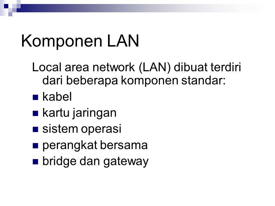 Komponen LAN Local area network (LAN) dibuat terdiri dari beberapa komponen standar: kabel kartu jaringan sistem operasi perangkat bersama bridge dan