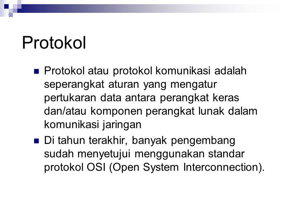 Protokol Protokol atau protokol komunikasi adalah seperangkat aturan yang mengatur pertukaran data antara perangkat keras dan/atau komponen perangkat